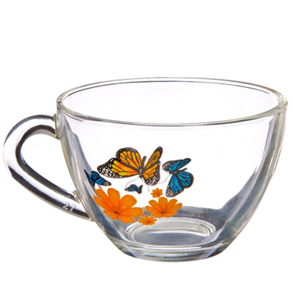 """ОСЗ Кружка стеклянная, 200мл, """"Бабочки и оранжевые цветы"""", 08с1416"""