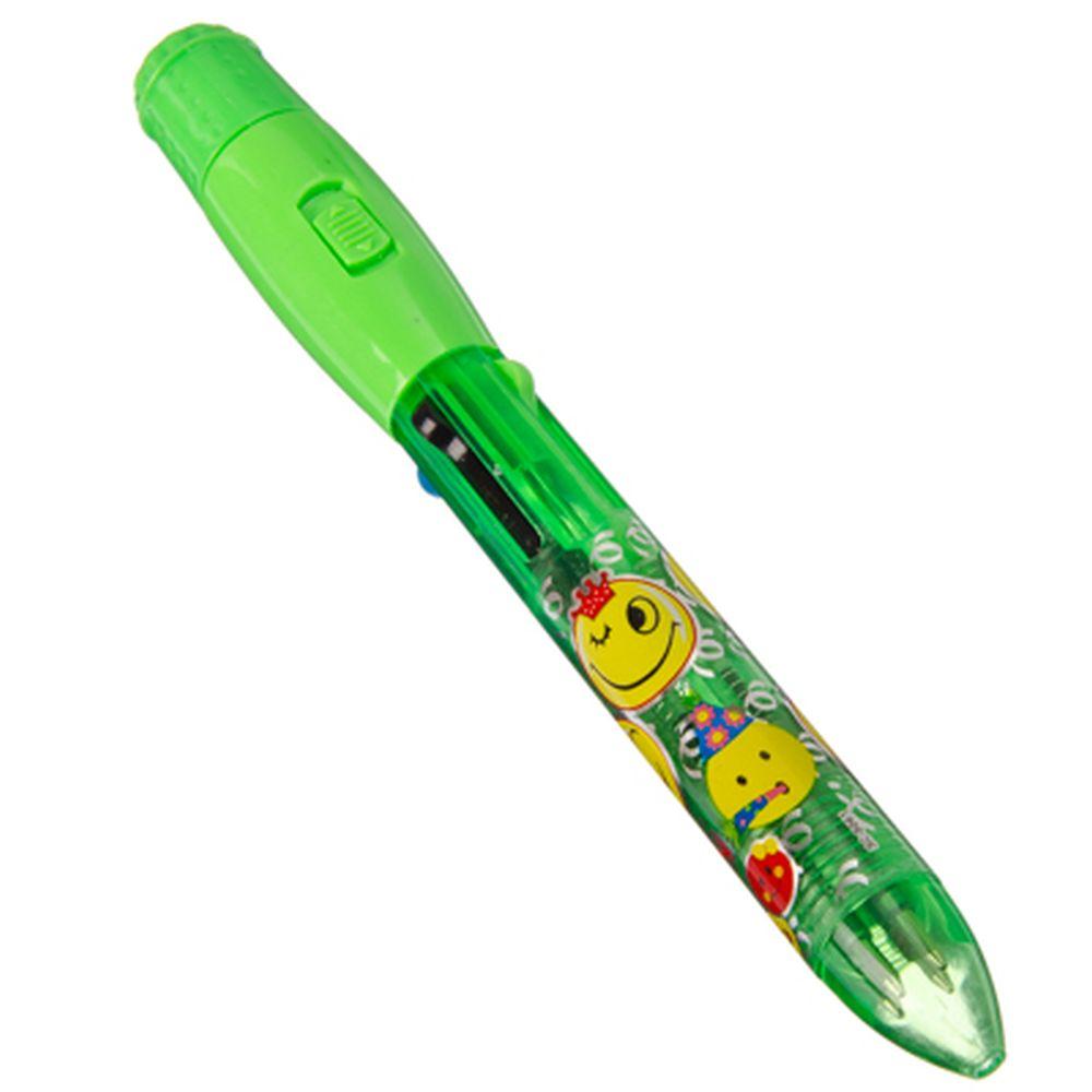 Ручка шариковая с двухрежимной подсветкой и проекцией смайлика, 16см, пластик, 4 цвета, арт.11103