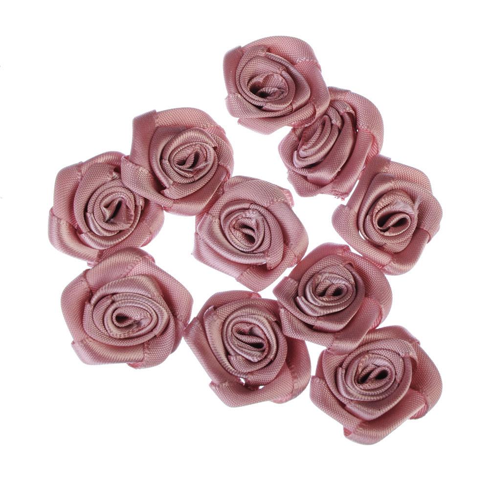 Набор цветов для декора 10шт, 100% полиэстер, d3,5см, 5 цветов, #SWF2015-7