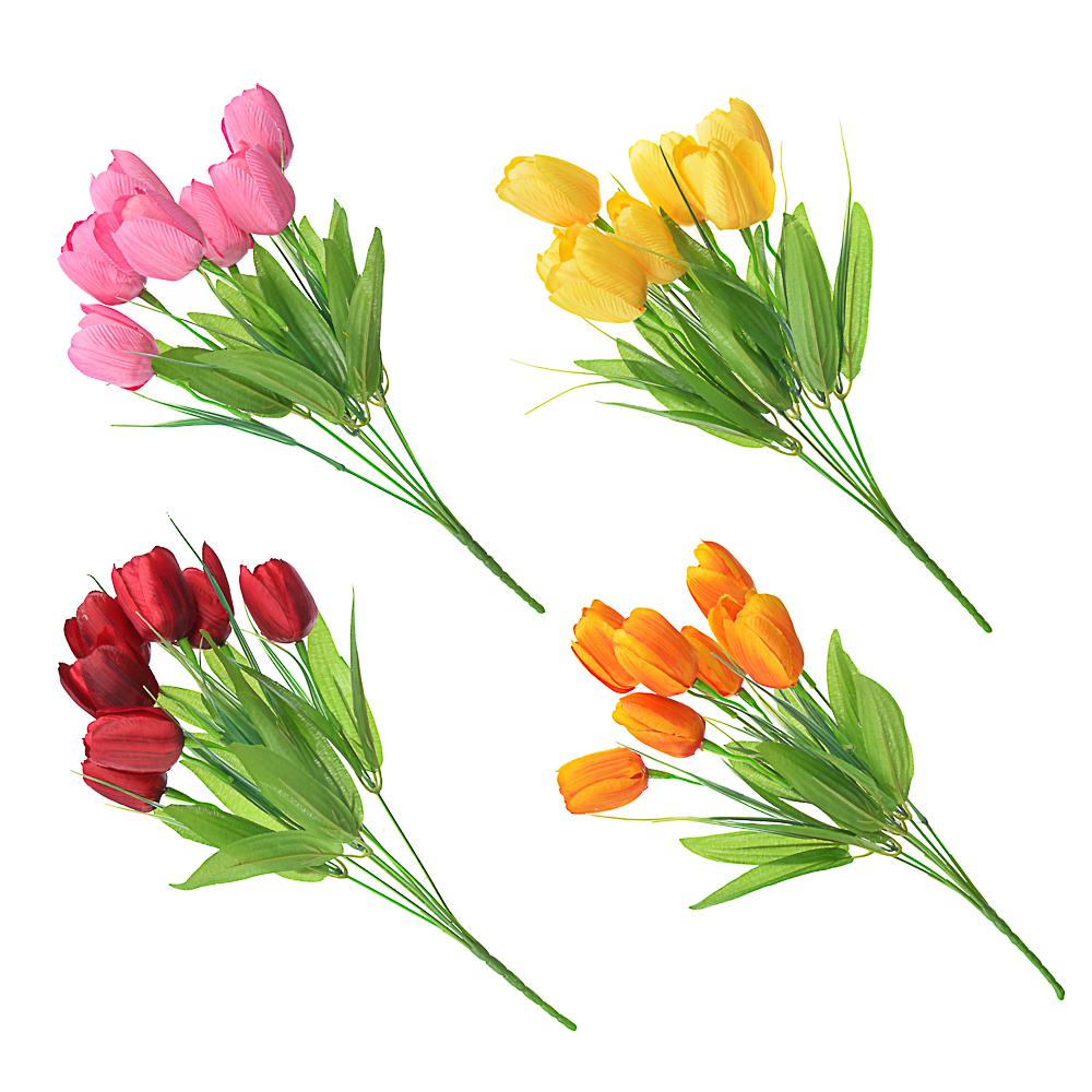 """Букет искусственный """"Тюльпаны 7шт с веточками"""", полиэстер, 37см, 4 цвета"""