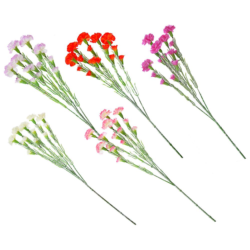 """Ветка """"Гвоздика кустовая"""", полиэстер, 63см, 5 цветов"""
