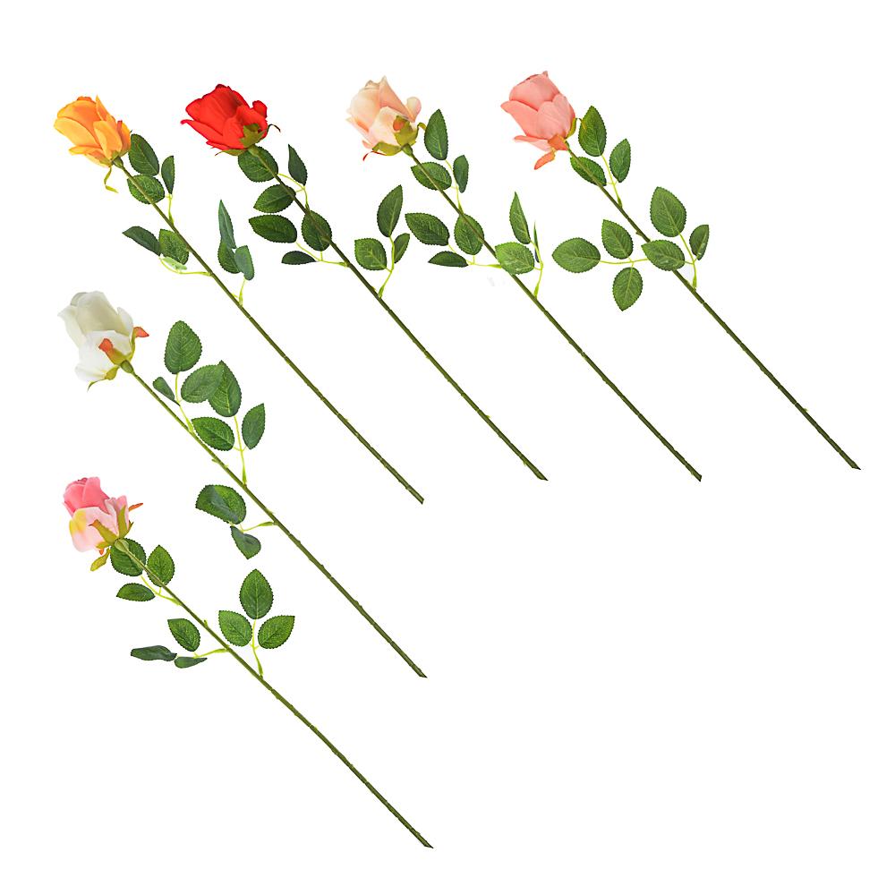 """Цветок искусственный """"В виде Розы"""" , полиэстер, 64см, 6 цветов"""