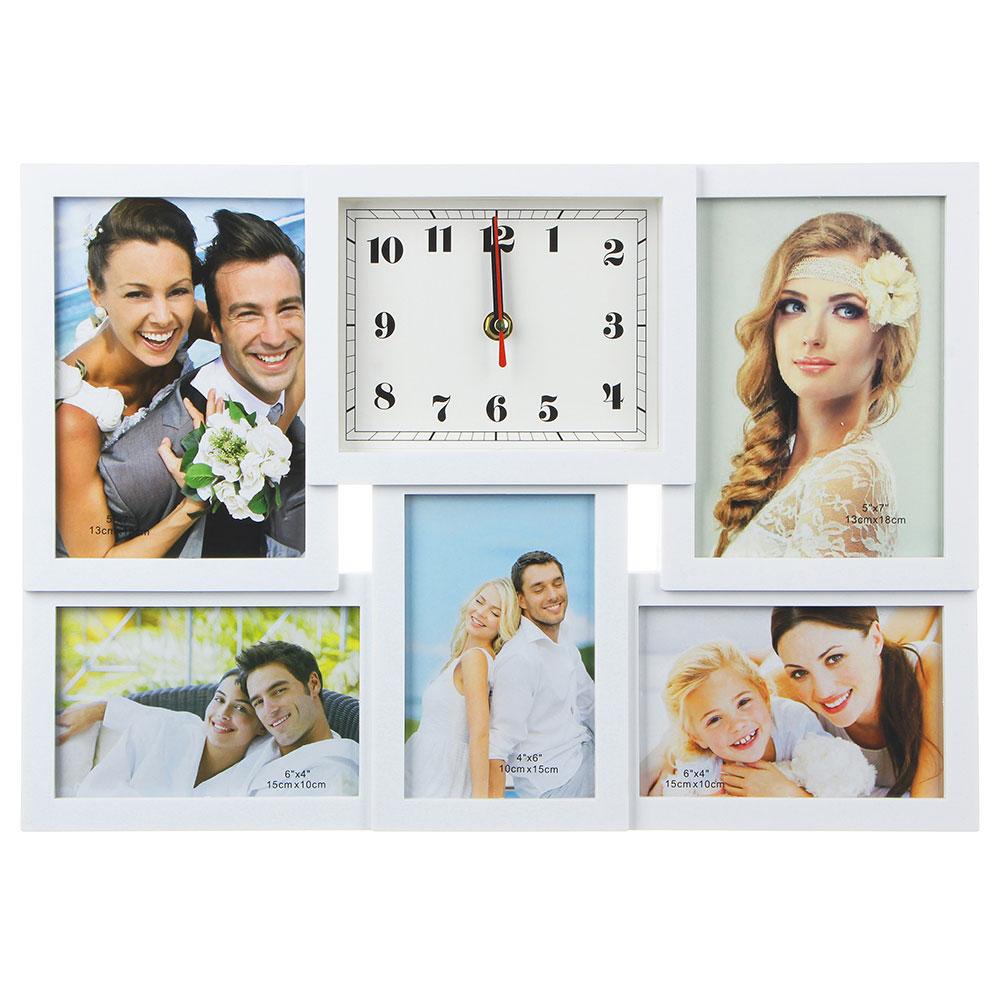 Часы настенные с фоторамкой, плавный ход, пластик, стекло, 42х29см, 1хАА, белый
