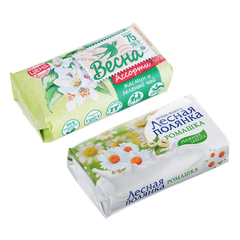 Мыло твердое Лесная Полянка Ромашка/Весна Жасмин и зелёный чай,к/у 90г,6084/1100-2