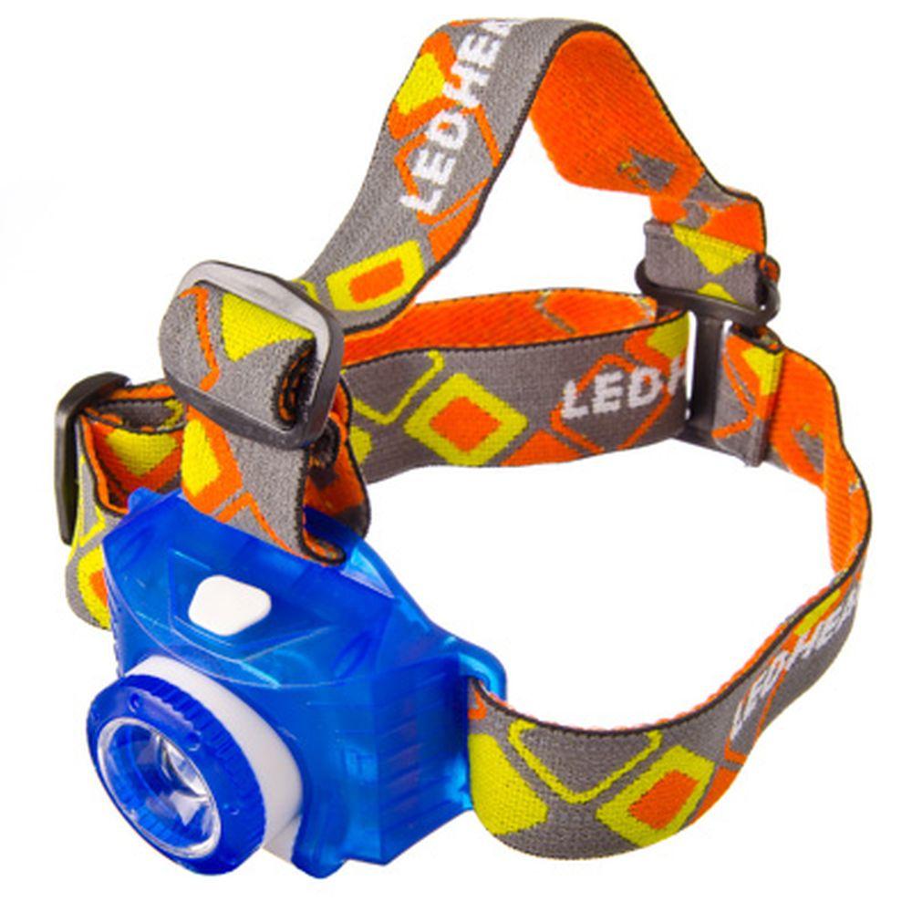 "Фонарик налобный ""Камера"", 1LED, пластик, синий, 5,5х8,5 см"