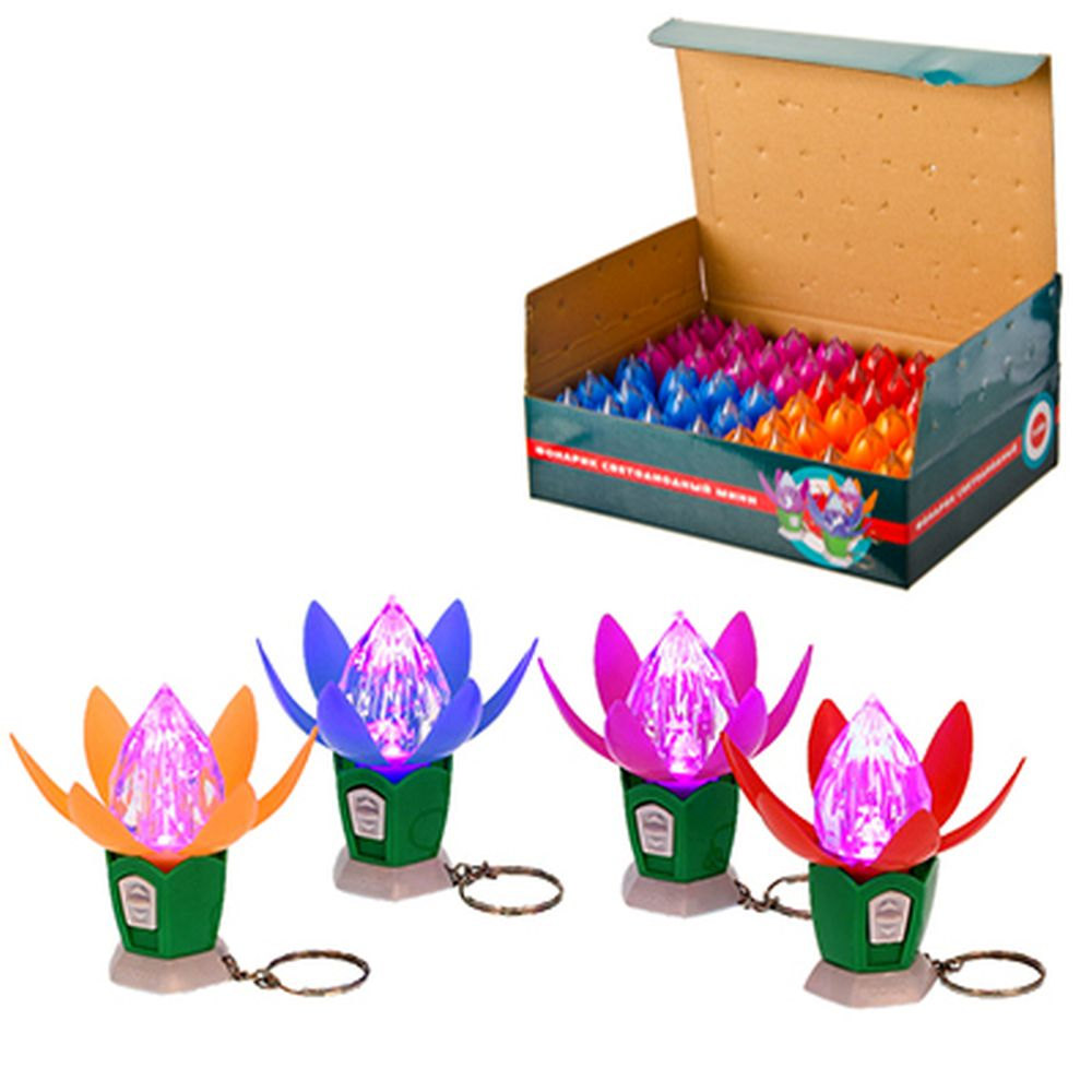 Фонарик светодиодный мини, 1 LED, пластик, 6,5х2,9см, 4 цвета