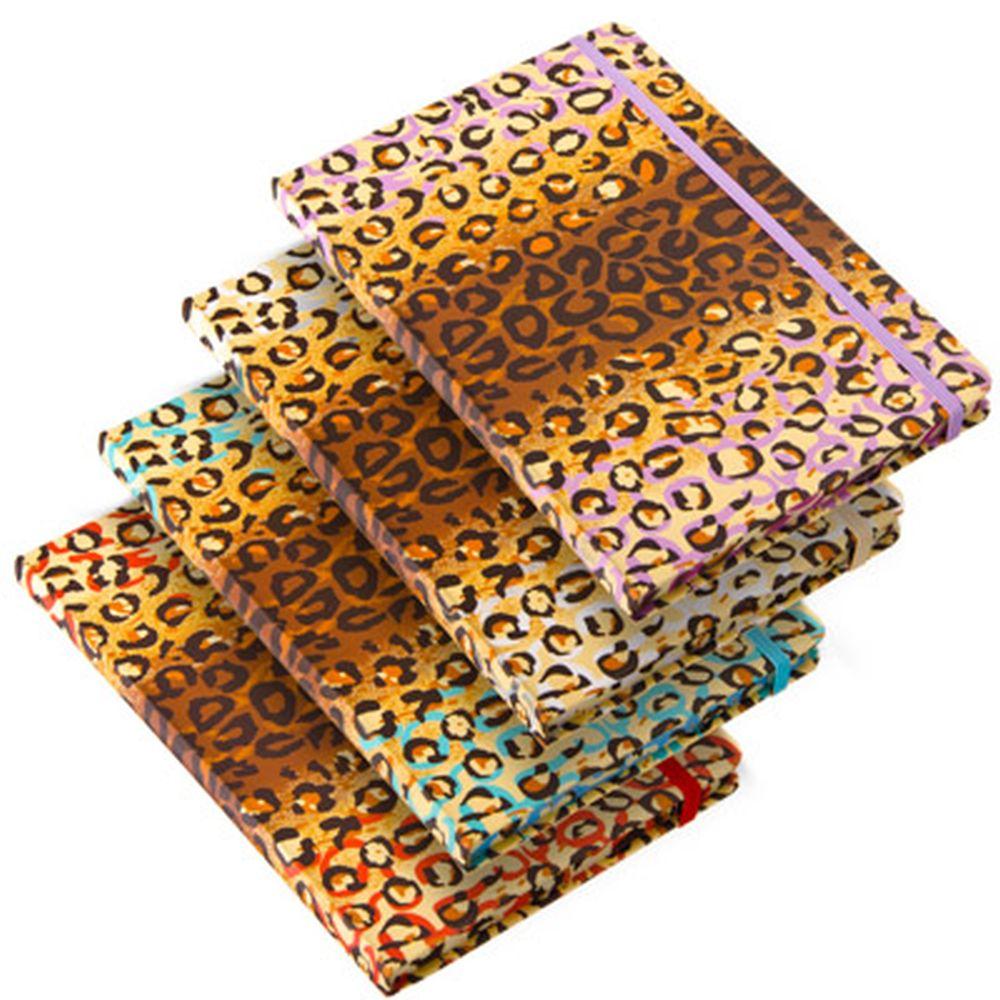 """Блокнот 96 л., """"Леопард"""", твердая обложка, 21х13см, с резинкой, бумага, 4 цвета"""