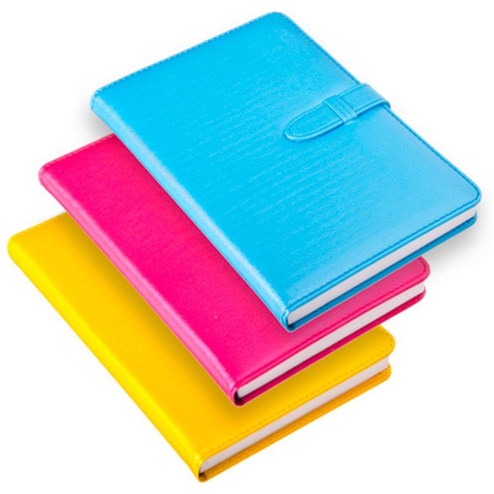 Блокнот с ремешком 21х14см, 140 листов, твердый переплет, бумага, полиуретан, 3 цвета