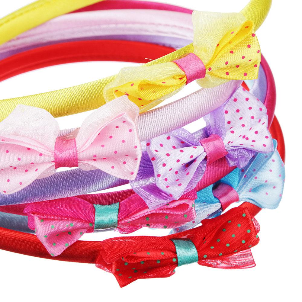 Набор для волос 12 предметов: ободки 2шт., резинки 10шт., пластик, полиэстер, 1,0 см, d4 см, 6 цвето