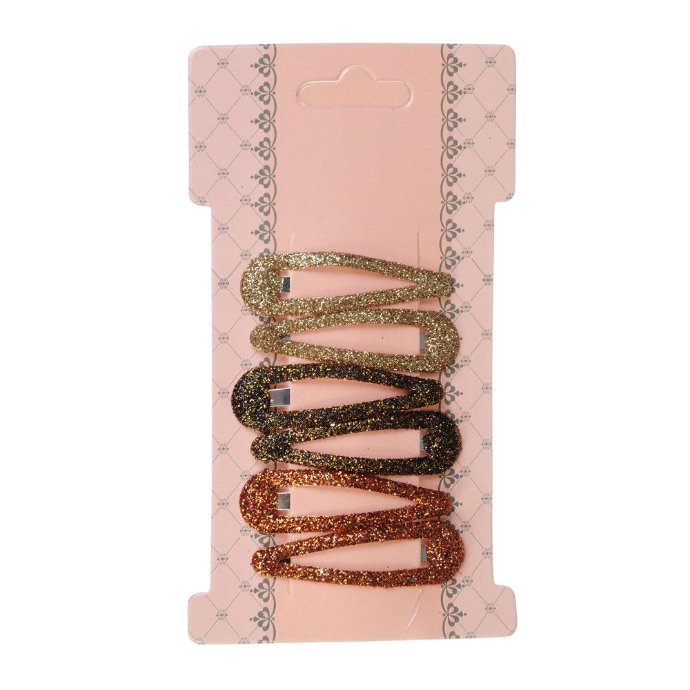 Набор заколок клик-клаков для волос 6шт., металл, акрил, 4,5 см, 3 цвета