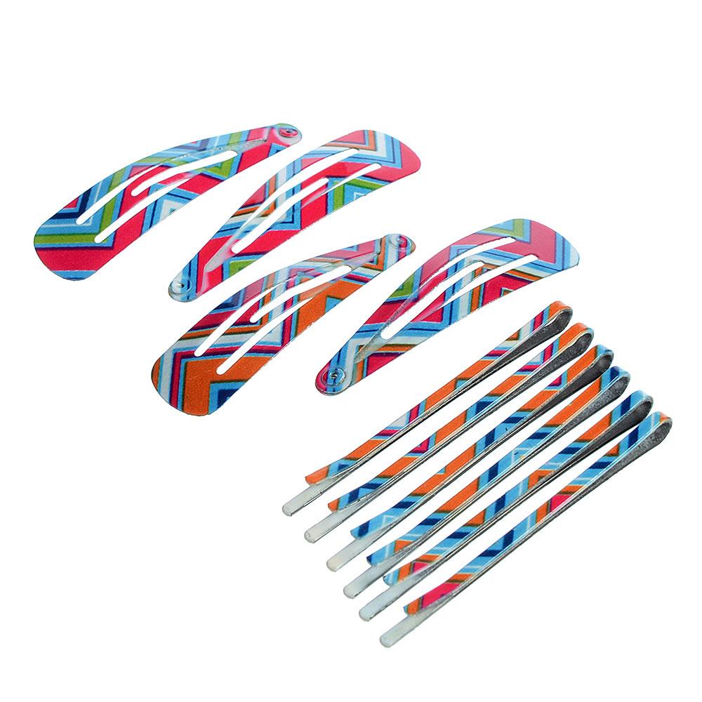 Набор заколок для волос 10шт.: клик-клаки 4шт., заколки-невидимки 6шт., 4,5 см, 5,5 см, металл, 3 цв