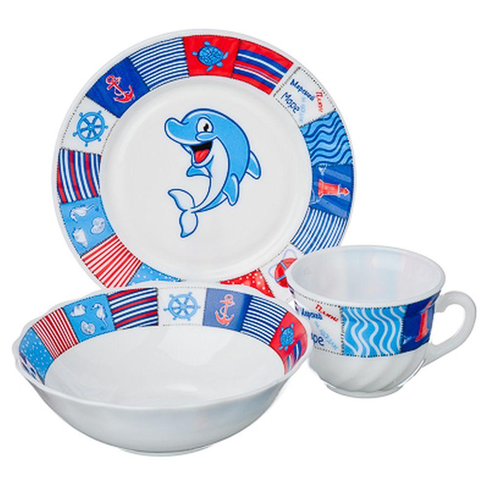 """VETTA Набор детский 3пр.(тарелка 18см, суповая 16см, чашка 190мл),опал.стекло,""""Дельфин"""", Дизайн GC"""