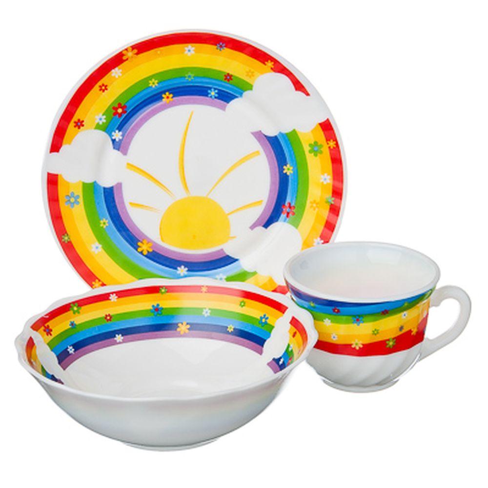 "VETTA Набор детский 3пр.(тарелка 18см, суповая 16см, чашка 190мл),опал.стекло,""Радуга"", Дизайн GC"