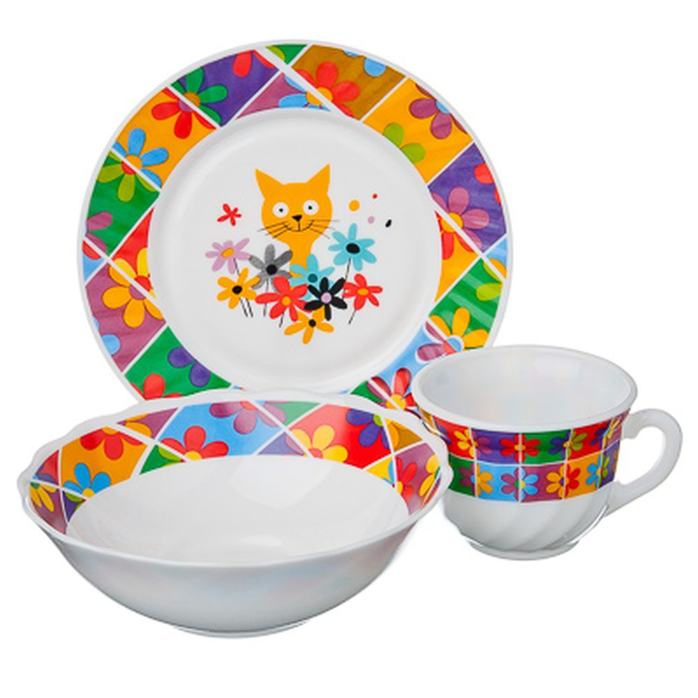 VETTA Набор детский 3пр (тарелка 18см, суповая 16см, чашка 190мл), опал, Малышка Дейзи, Дизайн GC