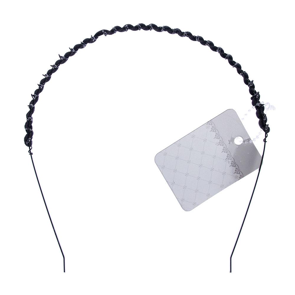 Ободок для волос, металл, 0,5 см, черный