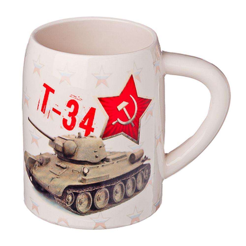 """Кружка пивная 0,5л, керамика, """"Т-34"""""""