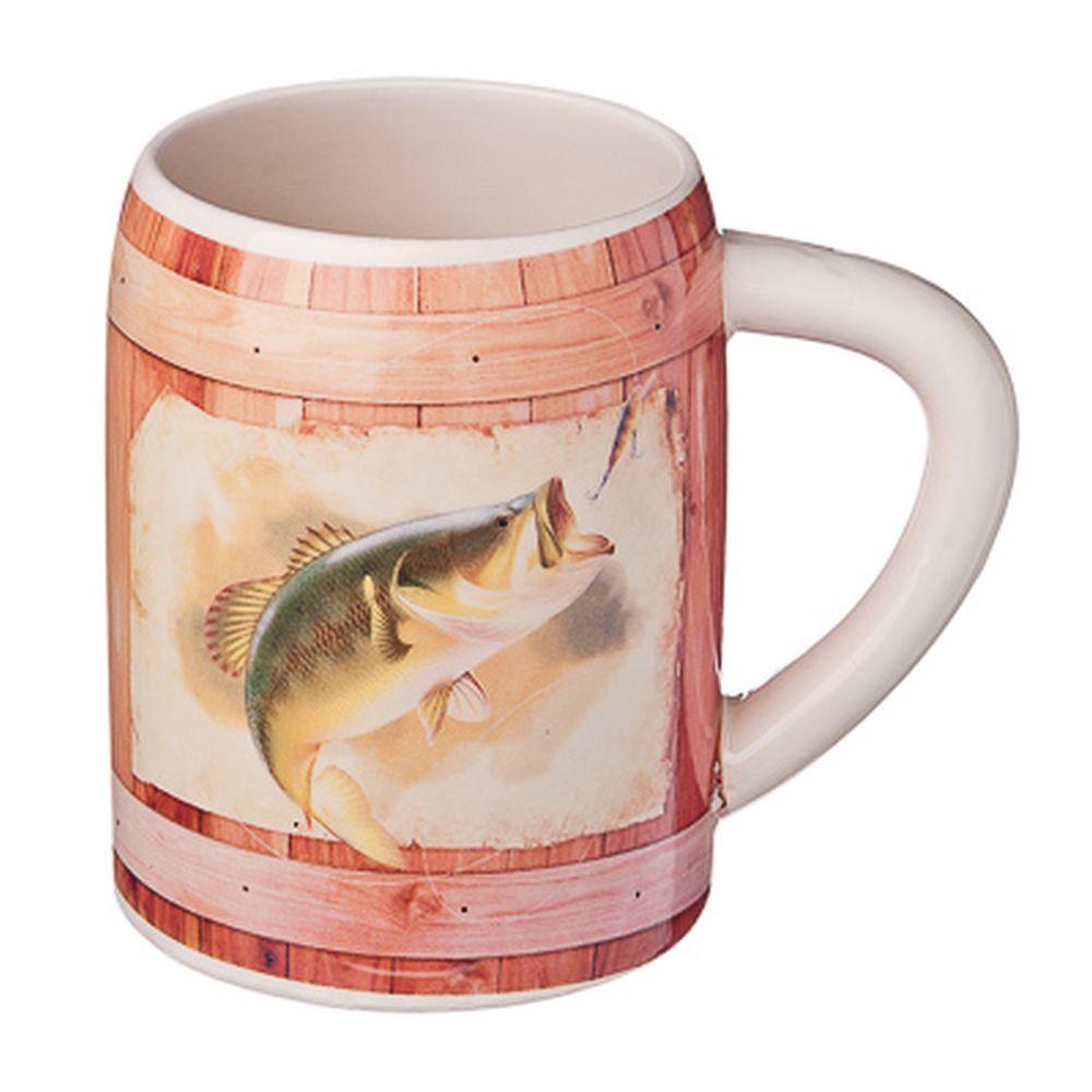 """Кружка пивная 0,5л, керамика, """"Рыбакам"""""""