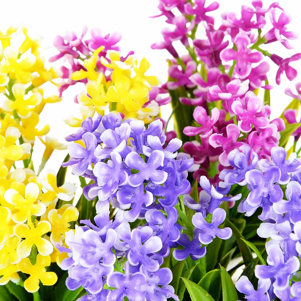 LADECOR Цветы в горшке 15,5х8х8см, полиэстер, керамика, 3 цвета, 2 вида, арт.GRSH-2