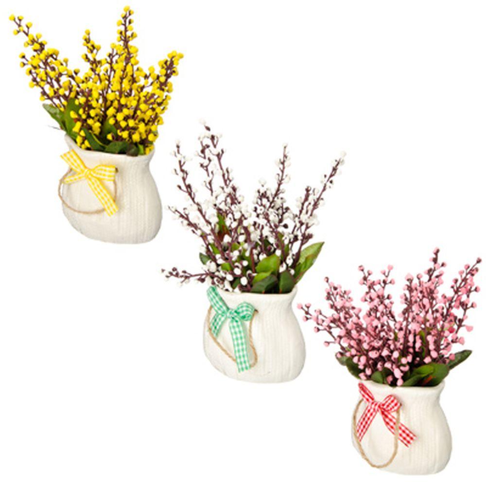 Цветы в горшке 17х9х5,5см, полиэстер, керамика, 3 цвета, арт.GRSH-4
