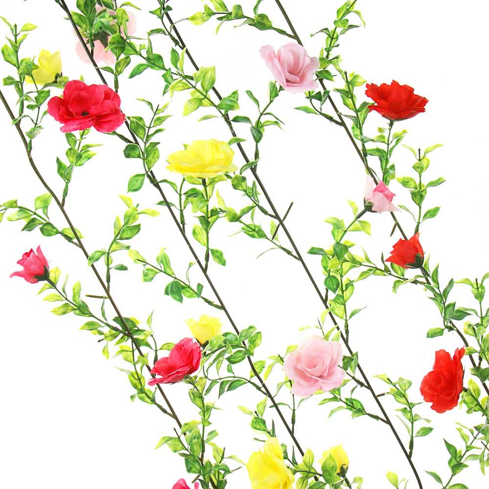 """Растение искусственное """"Лиана с розами"""", 2-2,3м, 11-13 розочек, 6 цветов"""
