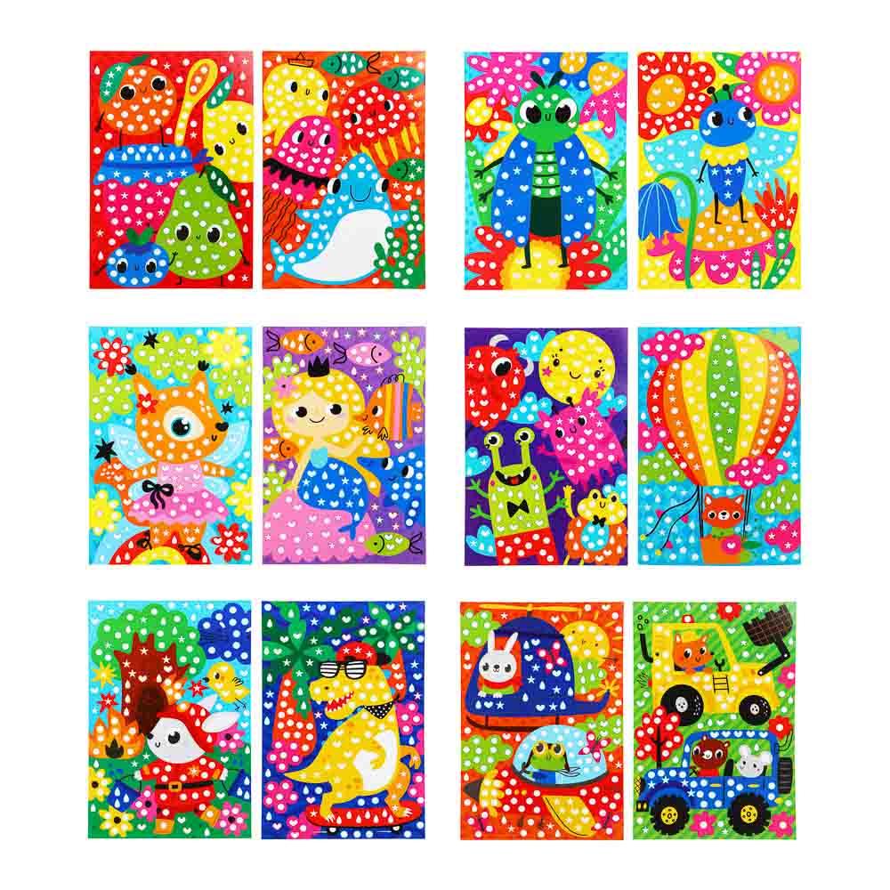 """Аппликация из самоклеящихся наклеек """"Кружочек"""", 2 картинки, наклейки, бумага, 21х30см, 4 дизайна"""