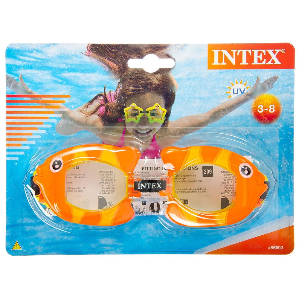 """Очки для плавания, возраст от 3 до 8 лет, 3 цвета, INTEX """"Fun"""", 55603"""