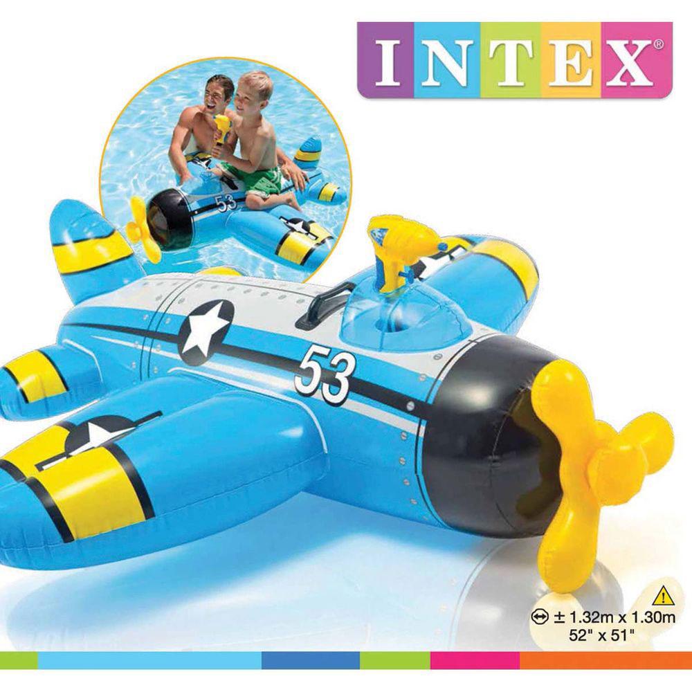 Игрушка для катания верхом с водным пистолетом, 132х130 см, возраст от 3 лет, INTEX Самолетик, 57537