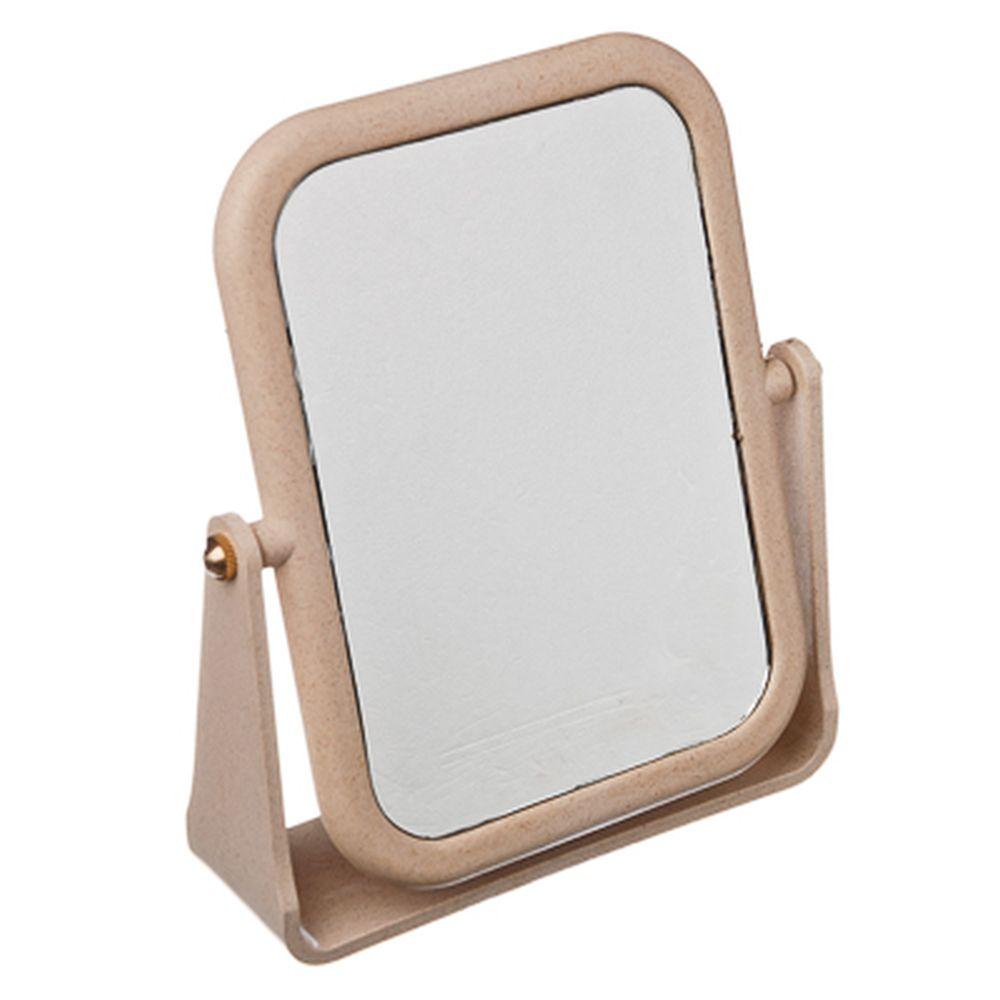 Зеркало настольное прямоугольное, 13х17 см, пластик, бежевый