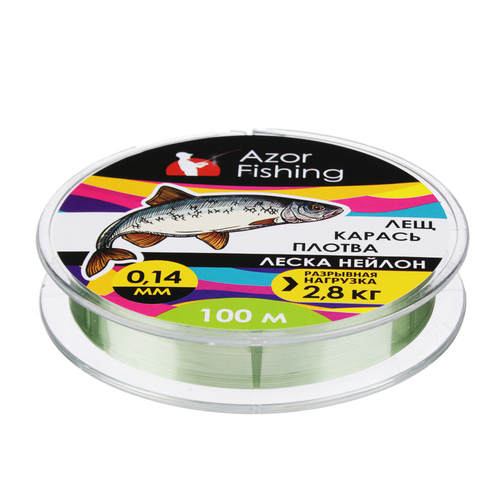 "AZOR FISHING Леска, нейлон, ""Карась, Плотва"" 100м, 0,14мм, зеленая, разрывная нагрузка 2,8 кг"