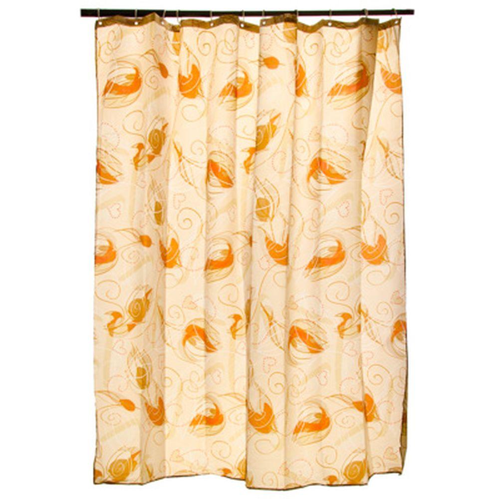 """VETTA Шторка для ванной, ткань полиэстер с утяжелит, 180x180см, """"Бежевые перья"""""""