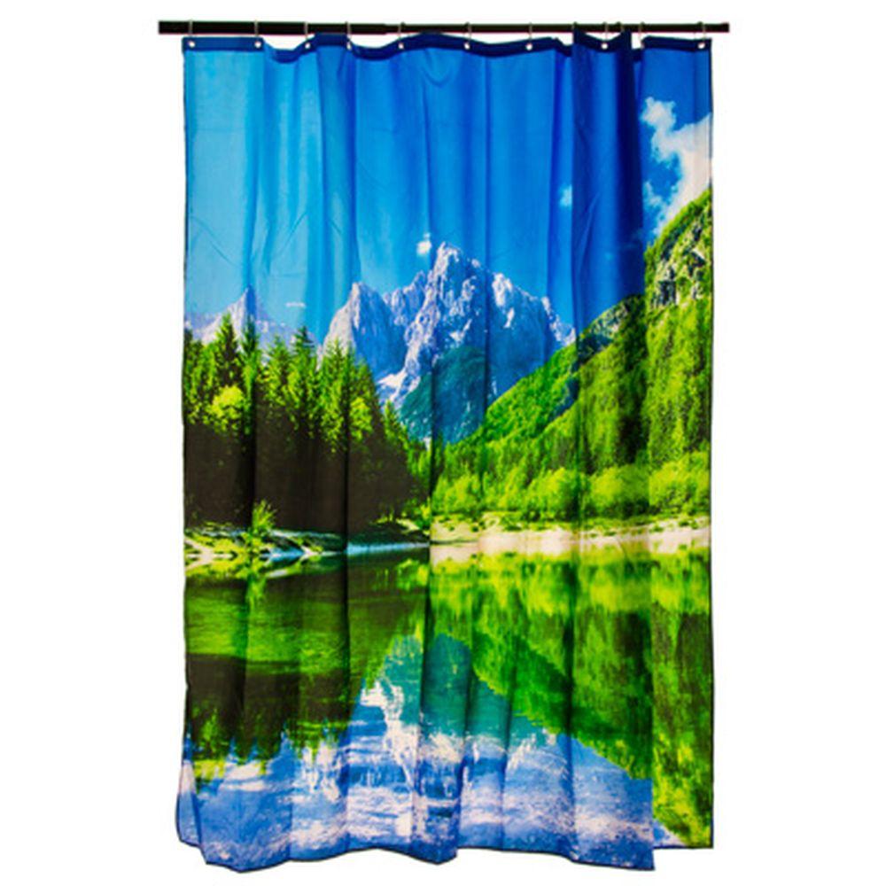 """VETTA Шторка для ванной, ткань полиэстер с утяжелит, 180x180см, фотопечать """"Альпы"""""""