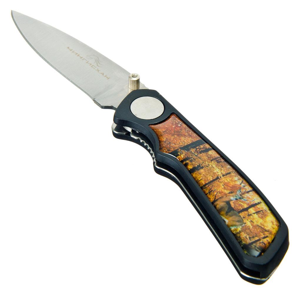 ЧИНГИСХАН Нож туристический складной с зажимом 16(6,5)х2,5см ручка пластик, 5 дизайнов, С-003