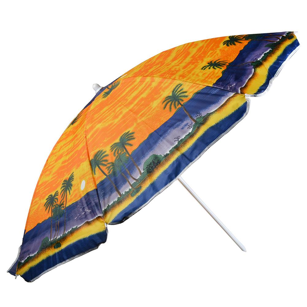 Зонт пляжный, 210D, полиэстер, d160см, h180см, 19/22мм стойка, в чехле, 3 диз.