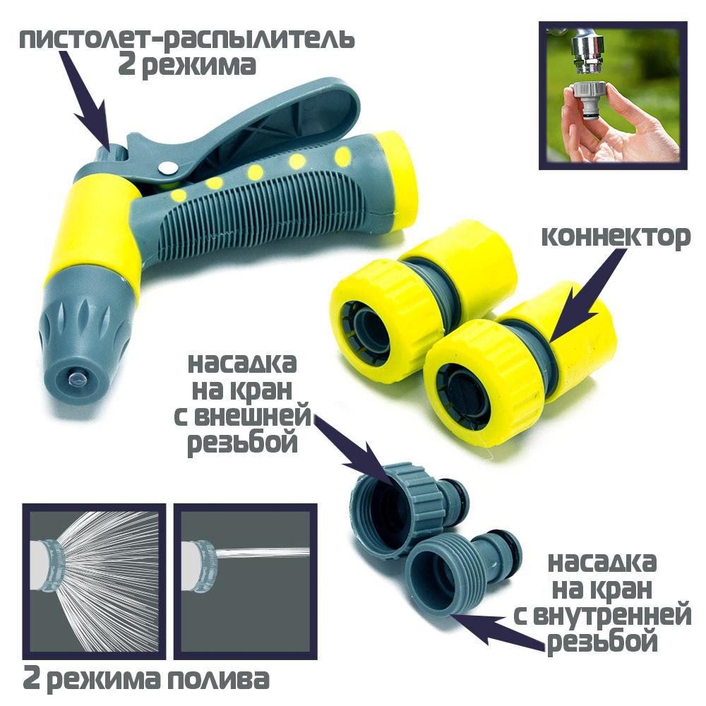 """Набор для полива: пистолет-распылитель, 2 коннектора 3/4"""", штуцер, пластик, 25х19х4, INBLOOM"""