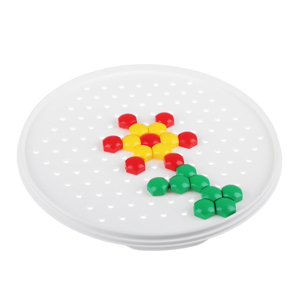 РЫЖИЙ КОТ Мозаика пластиковая, 110 шестигран.фишек 13мм, пластик, d18,5см, М-5656