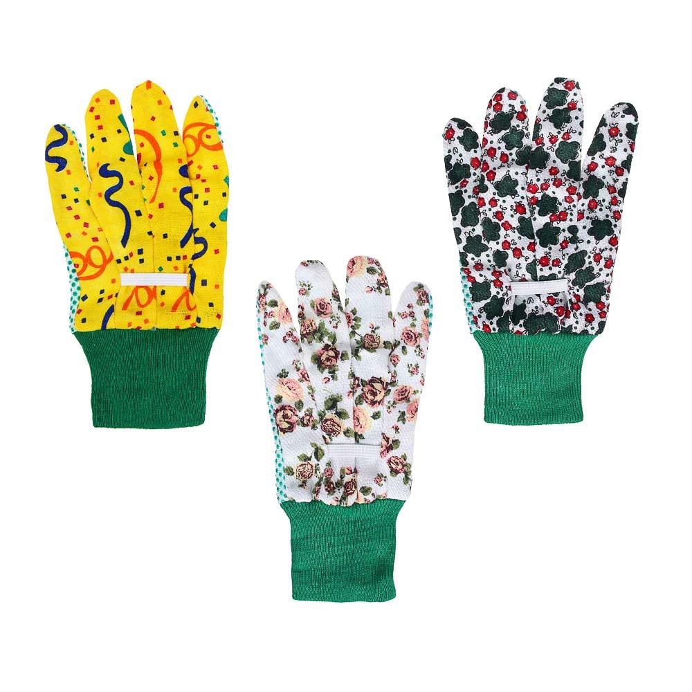 INBLOOM Перчатки садовые х/б ткань с ПВХ точкой, 9 размер, 23см, 30гр 25х10х4