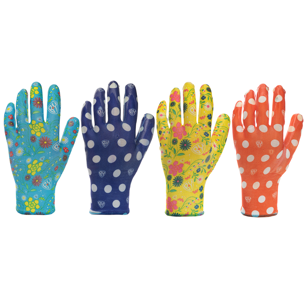 INBLOOM Перчатки садовые с нитриловым полуобливом, полиэстер, 9 размер, 23см, 31гр, цветные 25х15х5