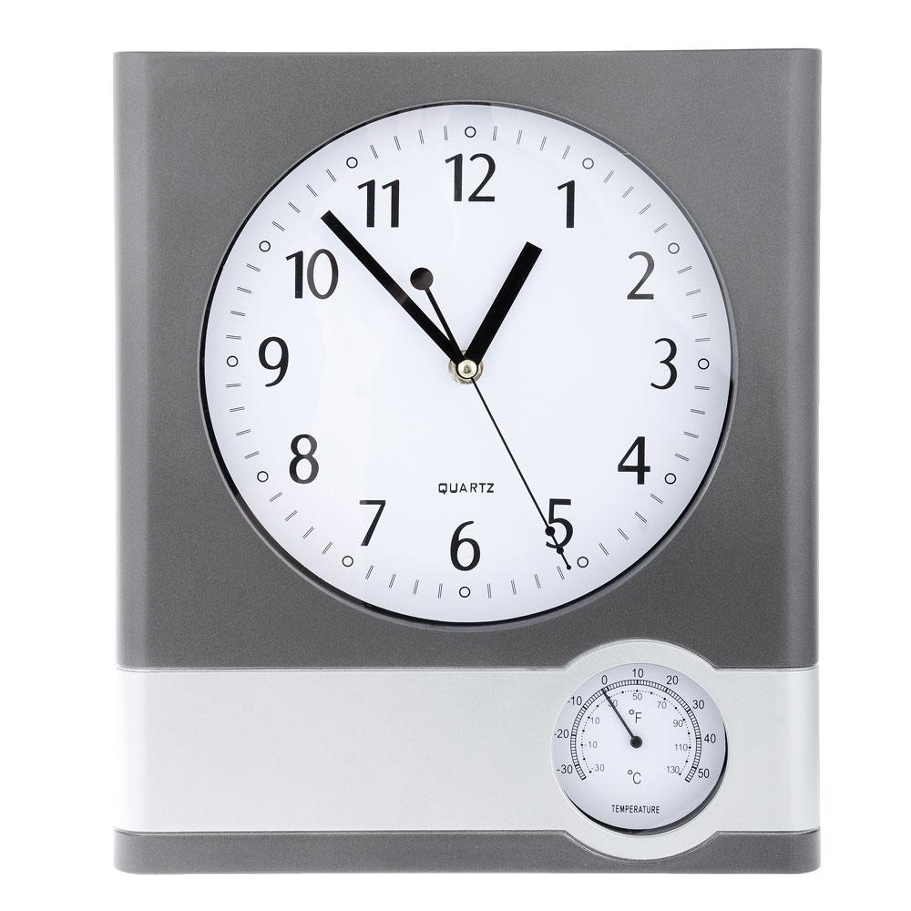 Часы настенные функциональные с термометром, 32х27х4см, пластик, 1хАА, 2 дизайна