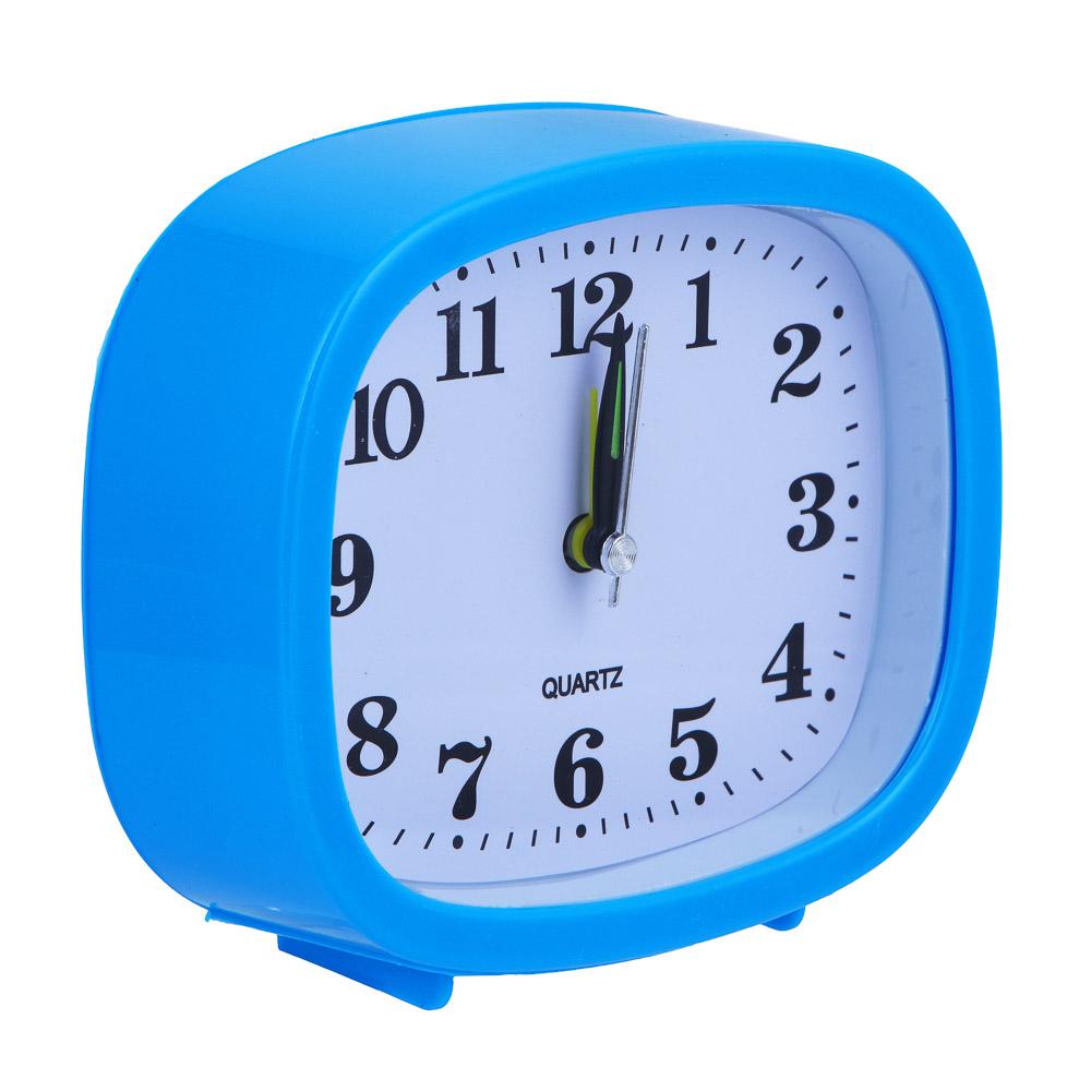 Будильник электронный прямоугольный, пластик, 12х11х4 см, 1хАА, 3 цвета
