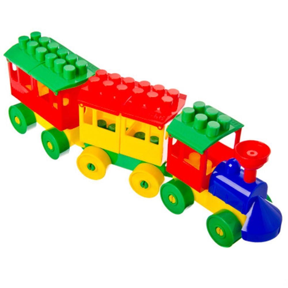 """ПОЛЕСЬЕ Конструктор пластик """"Паровоз с двумя вагонами"""", пластик, 32,5х6х10,5см, 2044"""