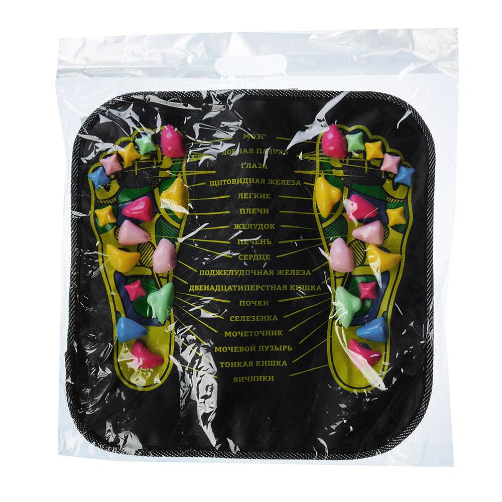 Коврик массажный для ног с указанием акупунктурных точек, 35х35 см, пластик, искусственная кожа, SIL