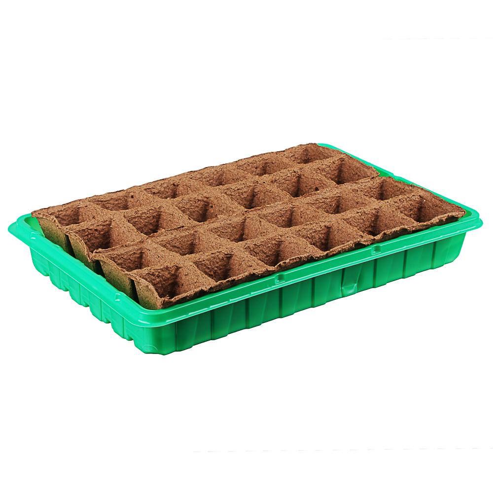 Набор для выращивания рассады: торфяные горшочки 24 шт, 5x5 см, лоток, пластик, 36x23 см