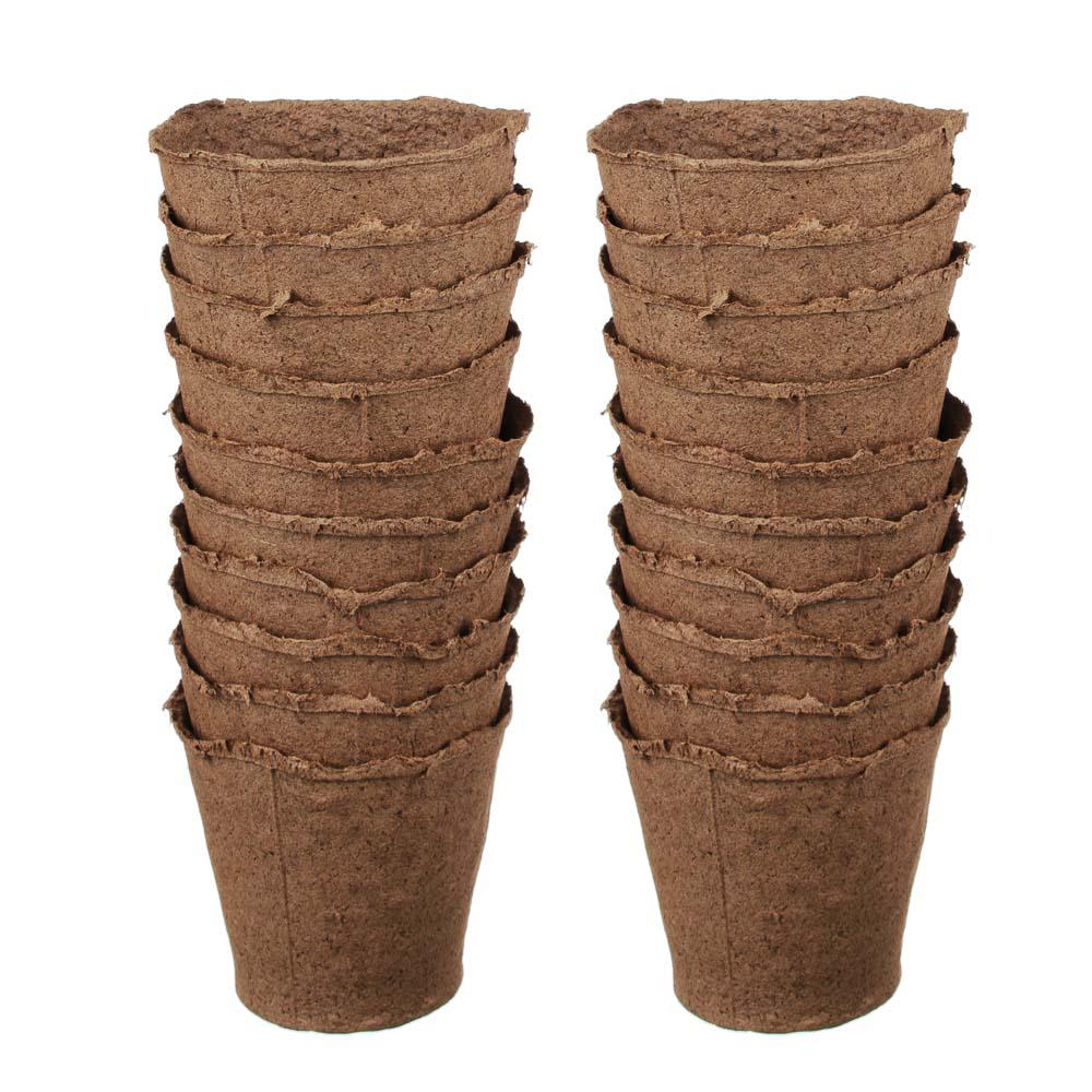 Набор: торфяных горшочков, 20 шт, d10 x h11 см