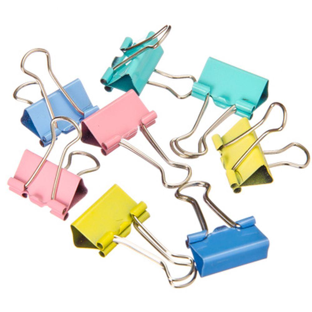 Зажимы для бумаг, металл, 19 мм, цветные, 40 шт в пластиковой упаковке