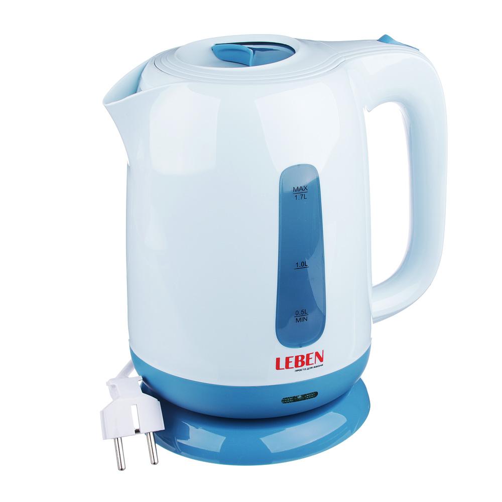 LEBEN Чайник электрический 1,7л, 1850Вт, скрытый нагр.элемент, пластик, подсветка, HHB1775