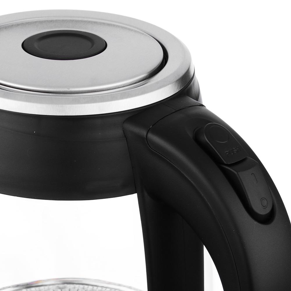 LEBEN Чайник электрический 1,8л, 1850Вт, скрытый нагр.элемент, стекл.корпус, HHB1801
