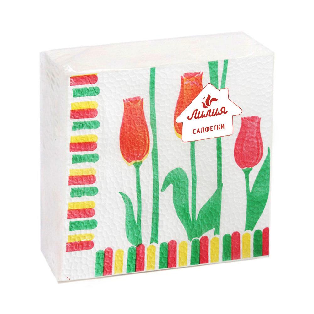 Салфетки бумажные Лилия с рисунком 1сл 50л, 8925/003/017