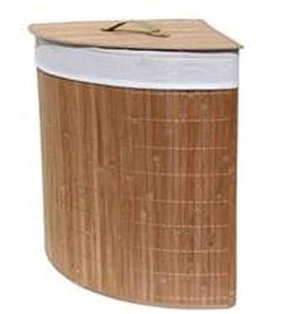 Корзина для белья складная угловая, бамбук, 35x35х50см, VETTA