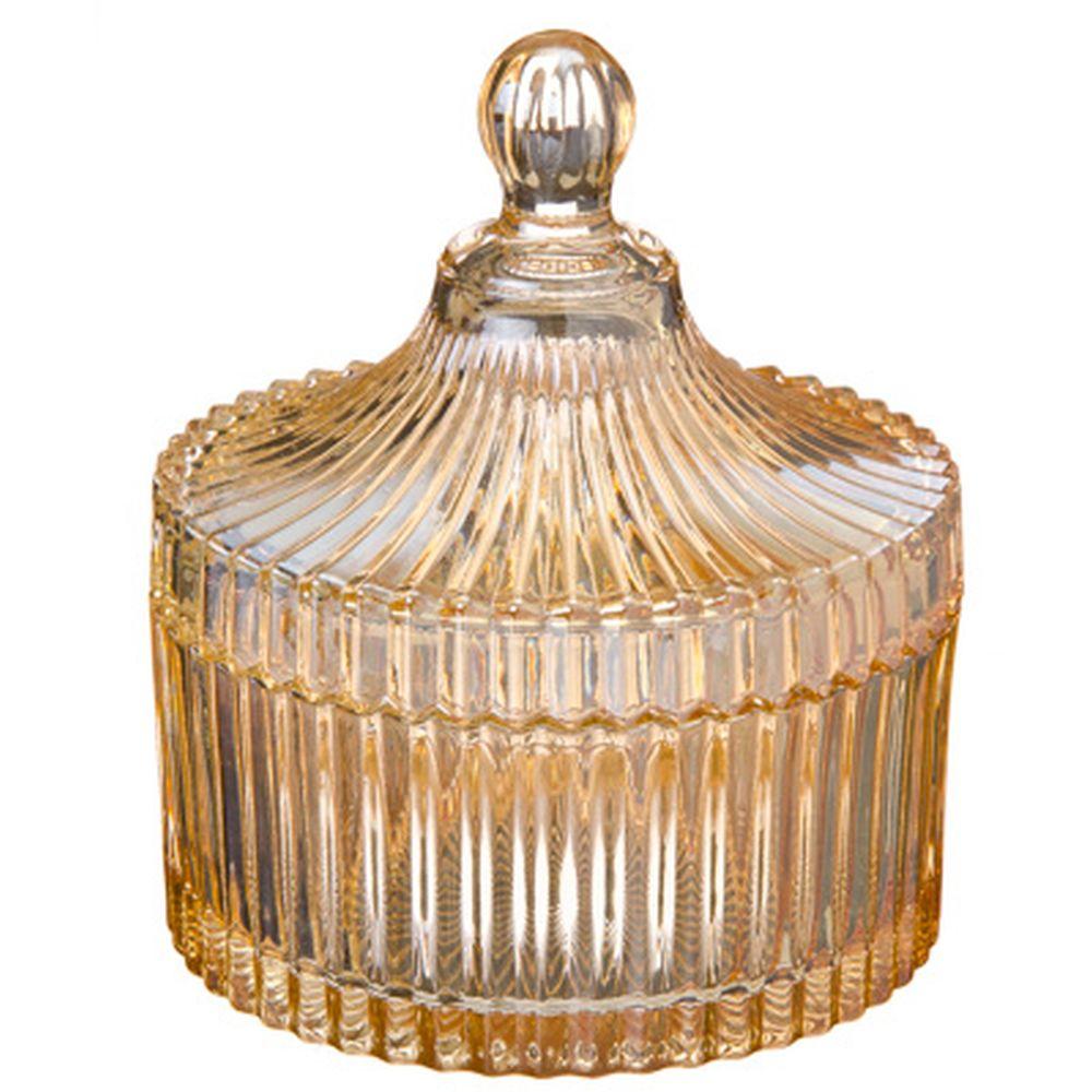 Иллюзия Конфетница, стекло, 12х10,5см, золотая