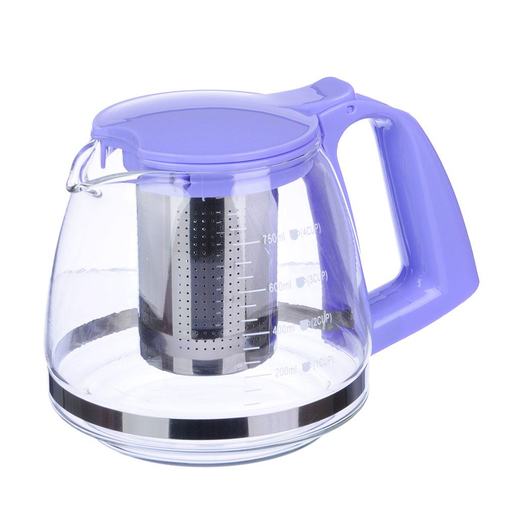 Чайник заварочный, ситечко из нержавеющей стали, стекло, пластик, 750мл, VETTA